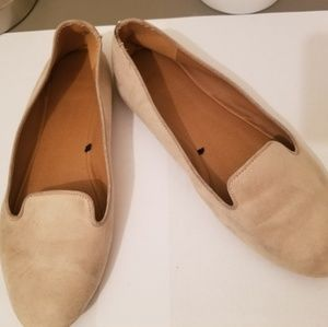Beige Faux Suede Loafers